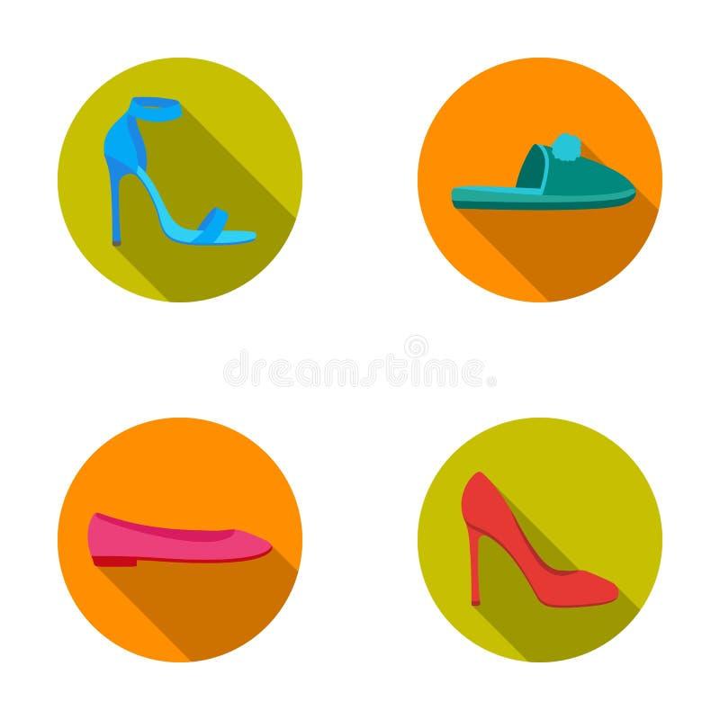 Sandales à talons hauts bleues, pantoufles lilas faites maison avec un pampon, appartements roses de ballet des femmes s, chaussu illustration libre de droits