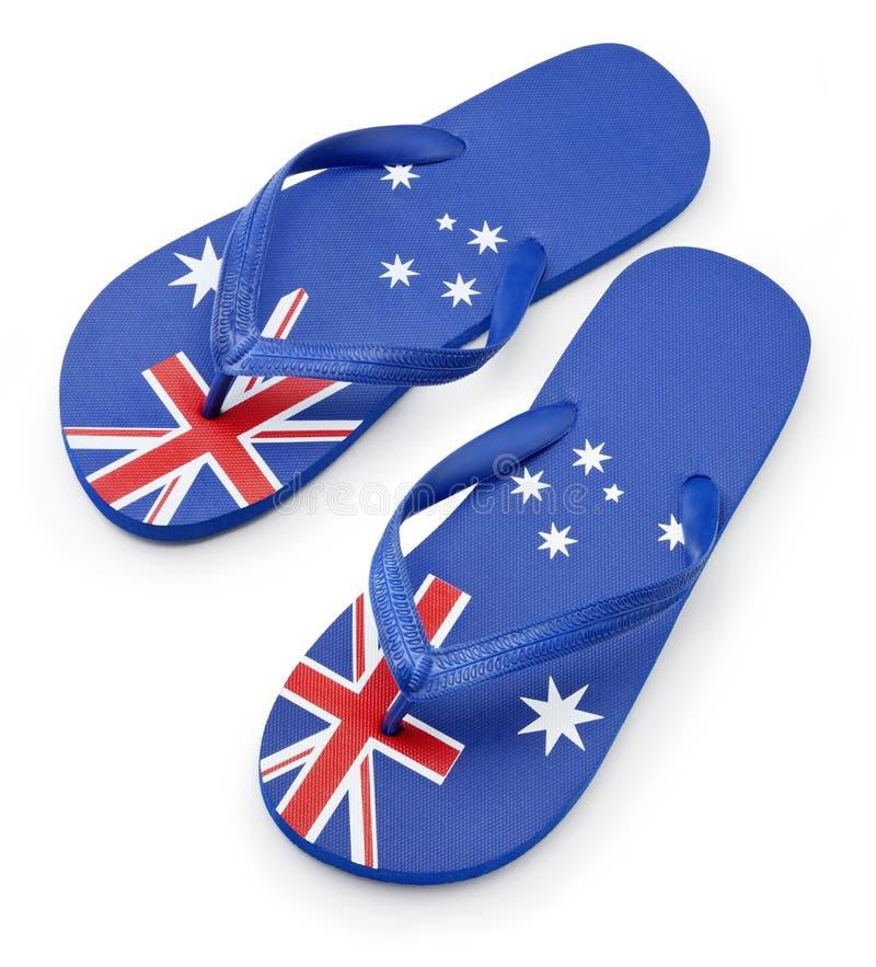 Sandali australiani delle cinghie della bandierina fotografia stock