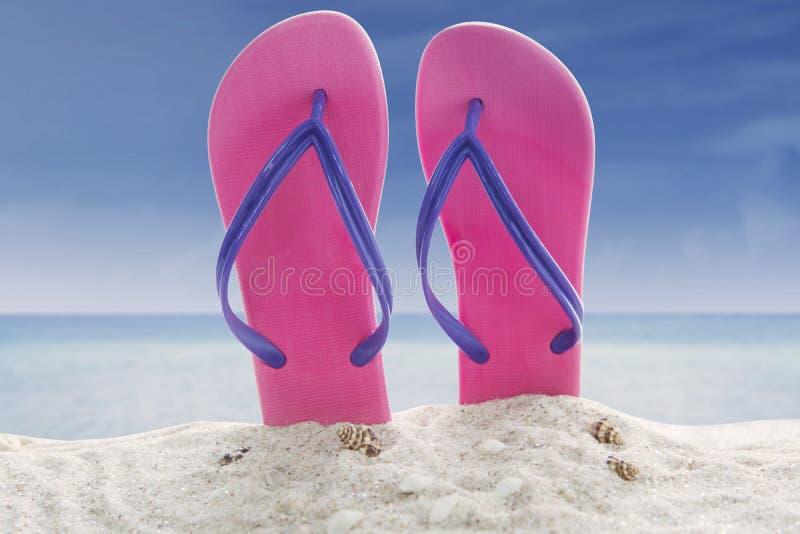 Sandali della spiaggia sulla spiaggia sabbiosa fotografia stock