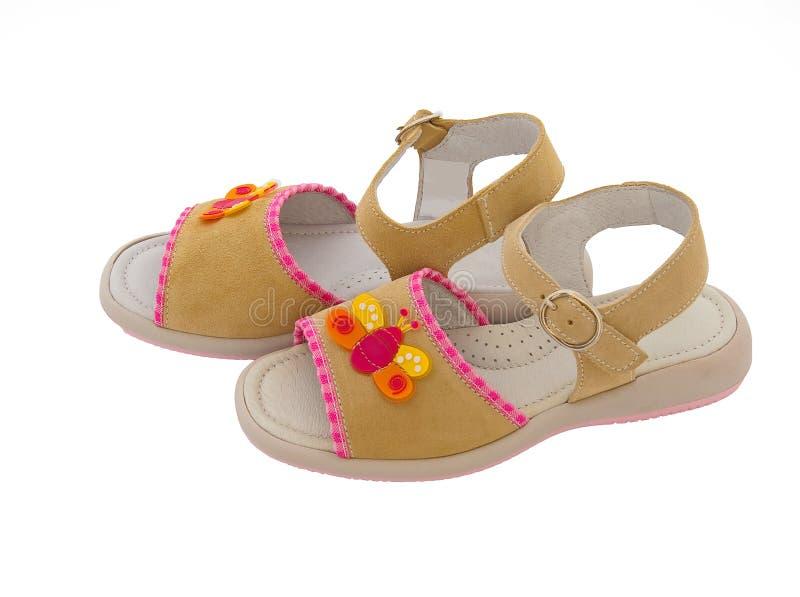 Sandali di cuoio dei bambini immagini stock