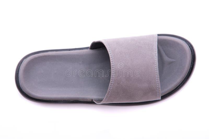 Sandalia de cuero gris imágenes de archivo libres de regalías