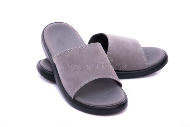 Sandalia de cuero gris foto de archivo