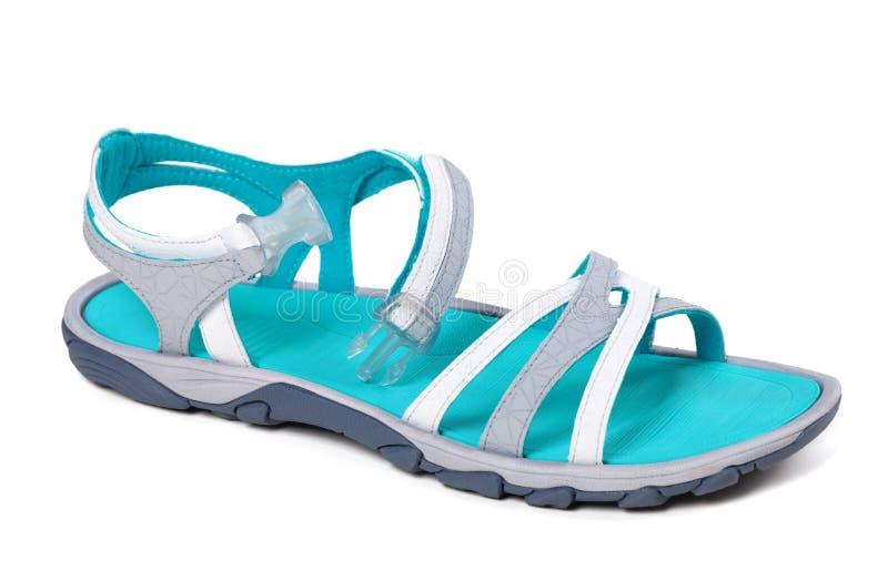 Sandalia del verano en blanco imagen de archivo