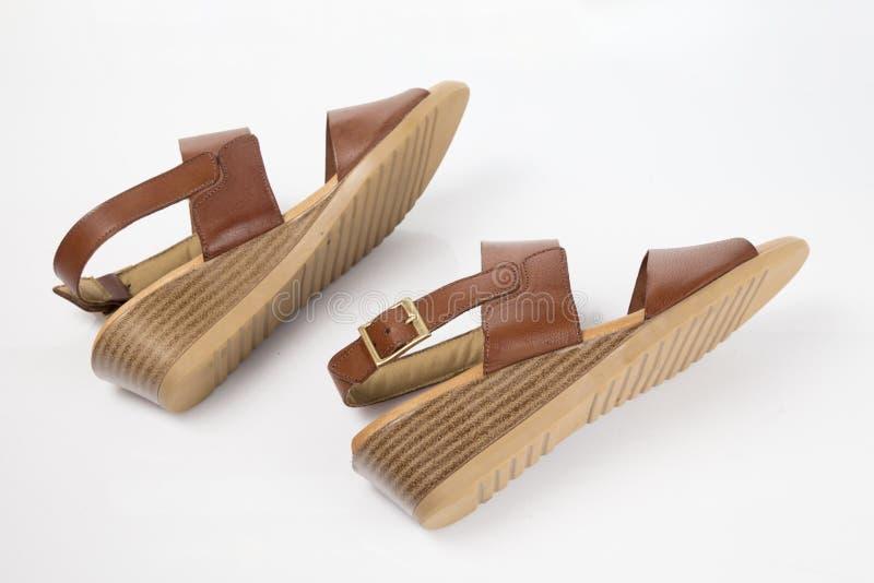 Sandalia elegante de cuero marr?n femenina foto de archivo libre de regalías