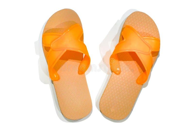 Sandalias anaranjadas en pares fotos de archivo libres de regalías