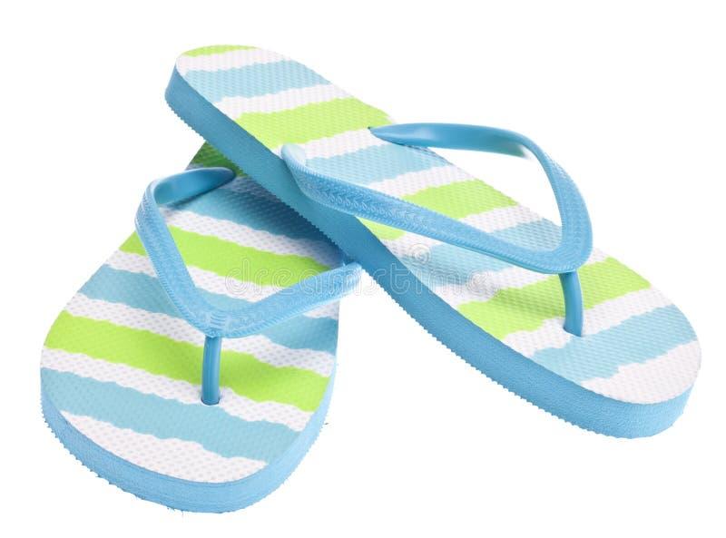 Sandalias azules y verdes del fracaso de tirón imágenes de archivo libres de regalías