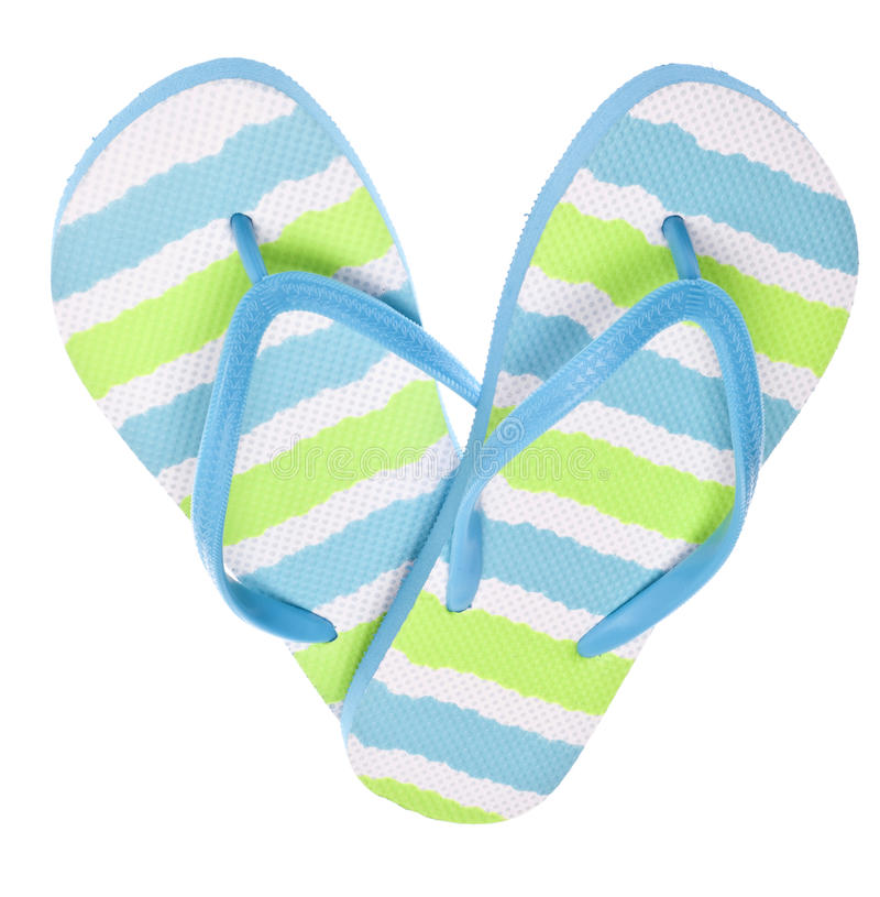 Sandalias azules y verdes del fracaso de tirón en dimensión de una variable del corazón imagen de archivo libre de regalías
