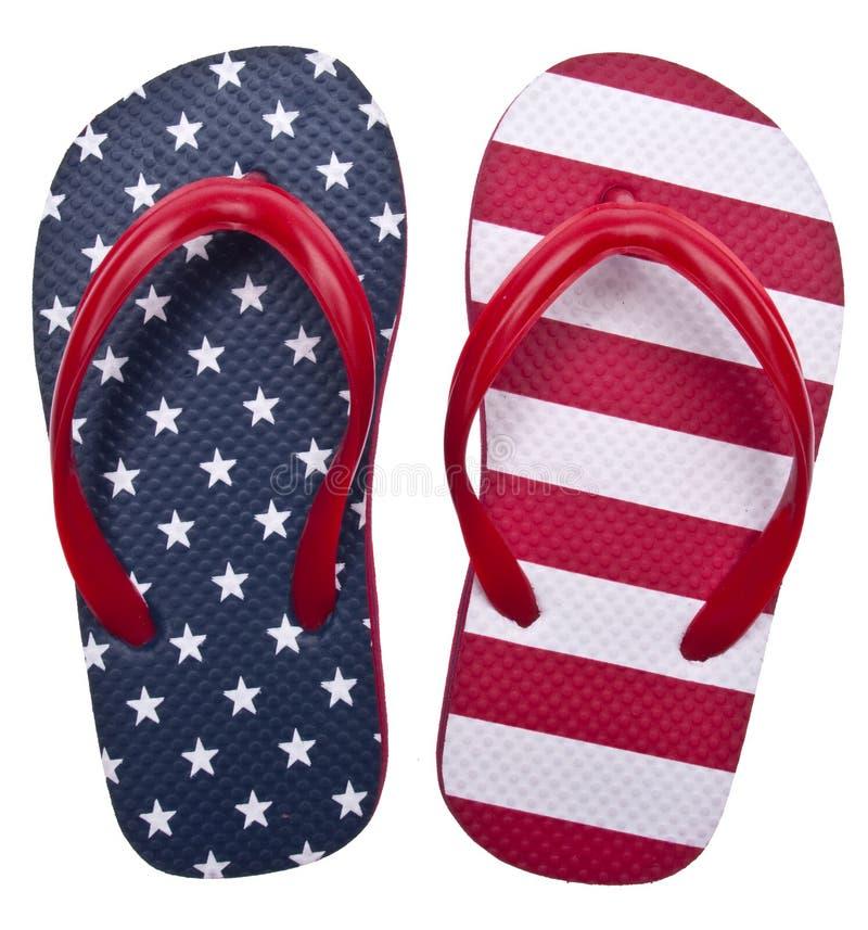 Sandalias blancas y azules rojas patrióticas del fracaso de tirón fotos de archivo libres de regalías