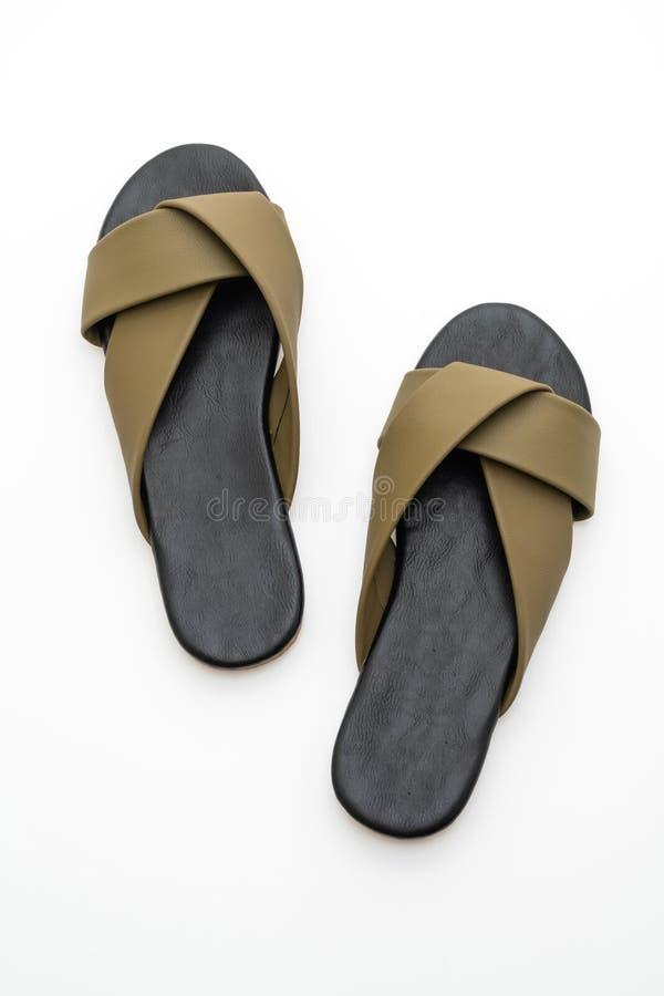 sandalias de cuero hermosas de la hembra y de la mujer de la moda imagenes de archivo