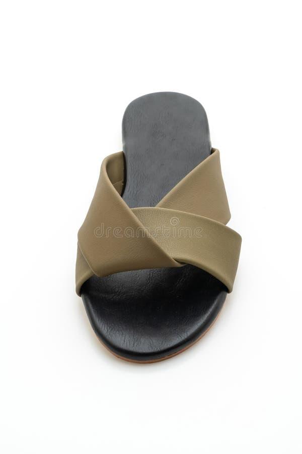 sandalias de cuero hermosas de la hembra y de la mujer de la moda fotografía de archivo