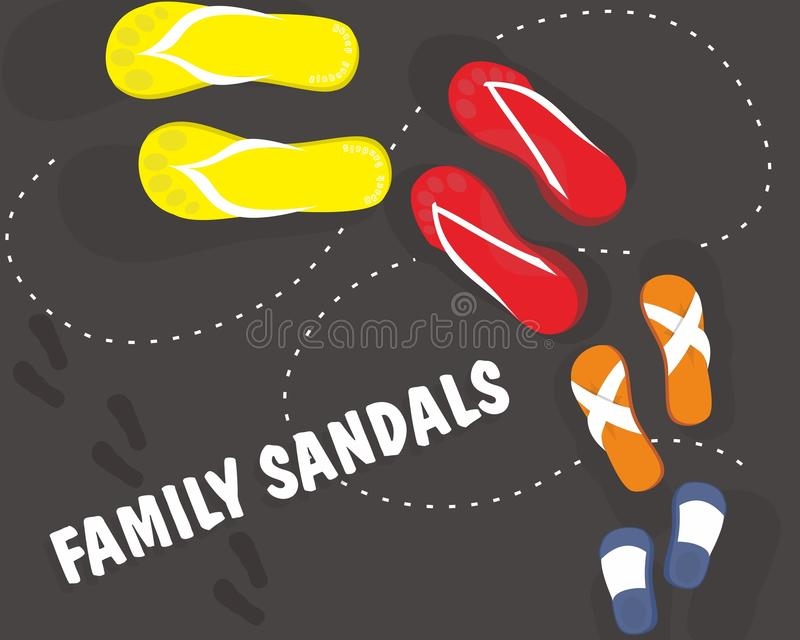 Sandalias de la familia stock de ilustración