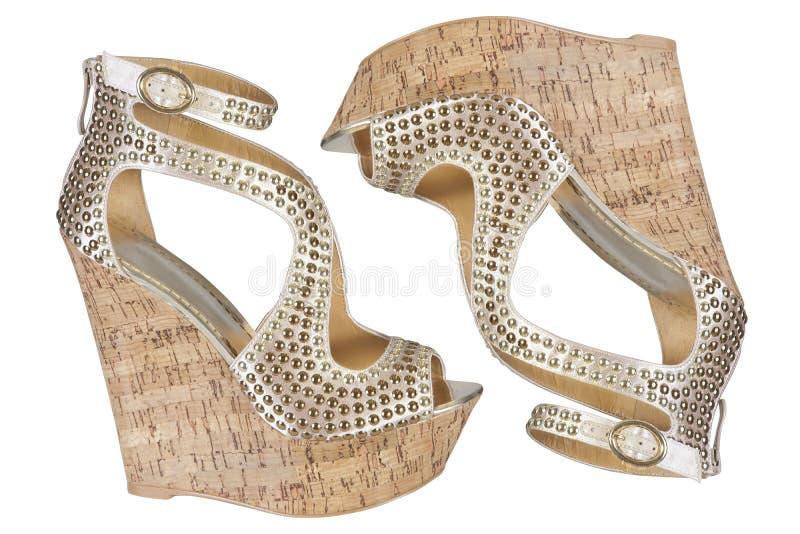 Sandalias de la plataforma del corcho imagen de archivo