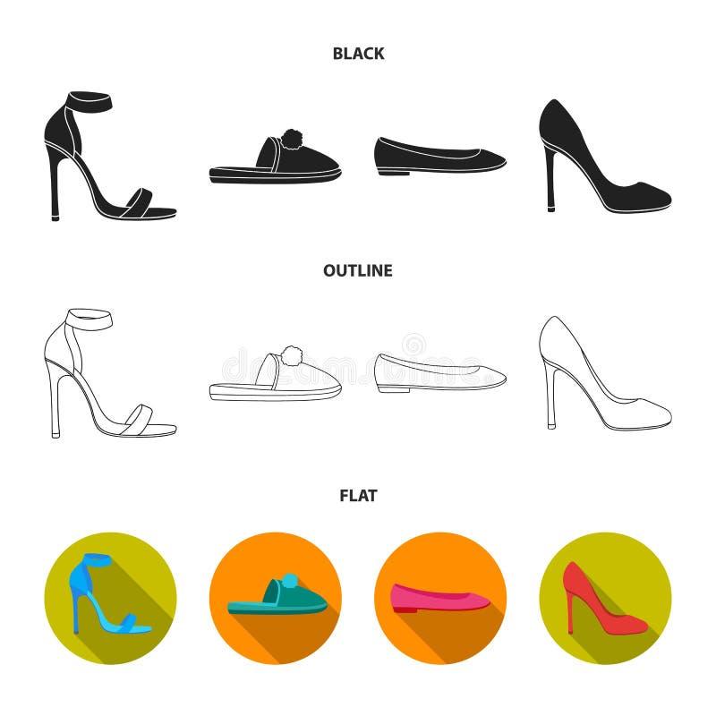 Sandalias de tacón alto azules, deslizadores hechos en casa con un pampon, planos rosados del ballet de las mujeres, zapatos de t stock de ilustración