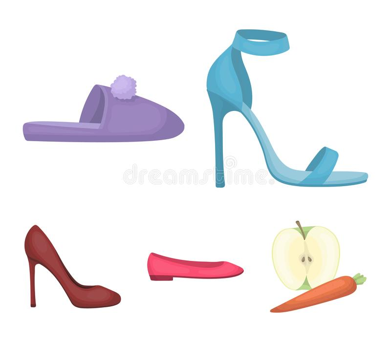 Sandalias de tacón alto azules, deslizadores hechos en casa con un pampon, planos rosados del ballet del ` s de las mujeres, zapa ilustración del vector