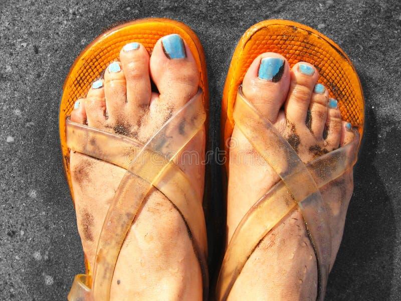 Sandalias del Beachwear del diseñador imagenes de archivo