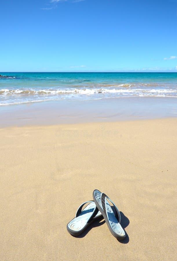 Sandalias en la playa tropical de Hawaii Resaca, playa y día de Sunny Blue Sky Isla grande, Hawaii imagen de archivo