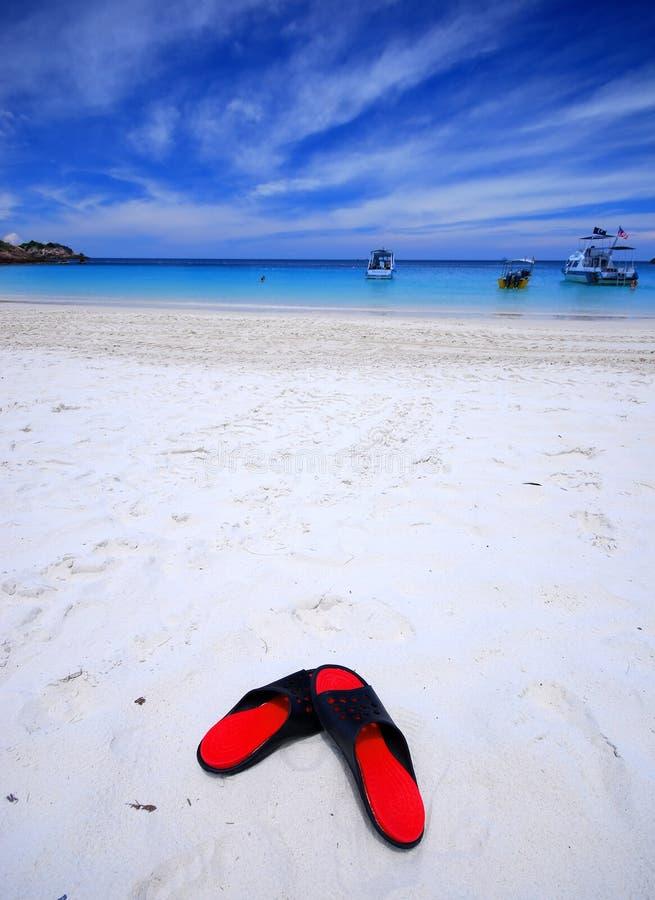 Sandalo dalla spiaggia immagini stock