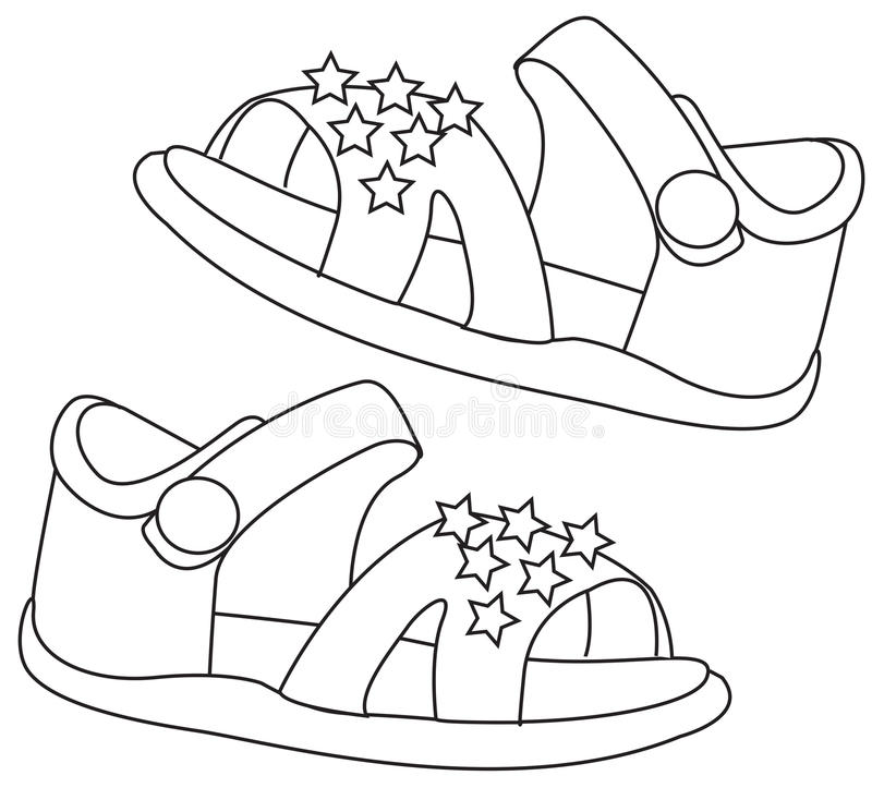 Download Sandals Coloring Page Stock Illustration Of Beautiful