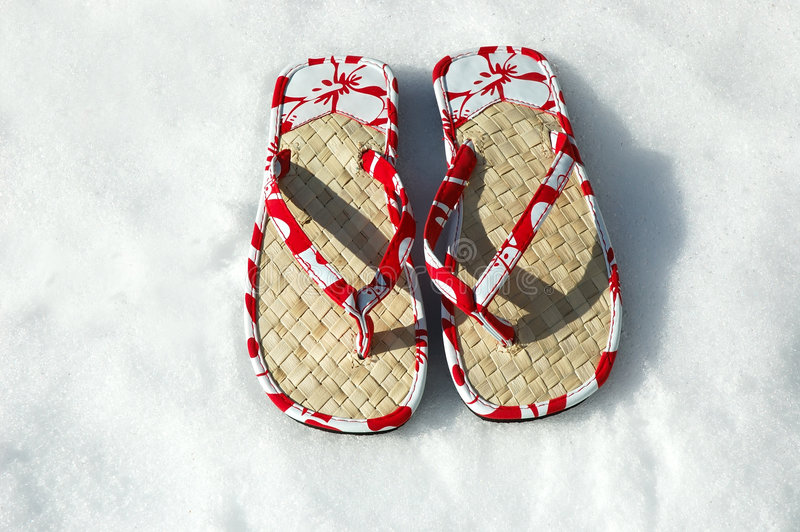 Sandals in de Sneeuw stock afbeelding