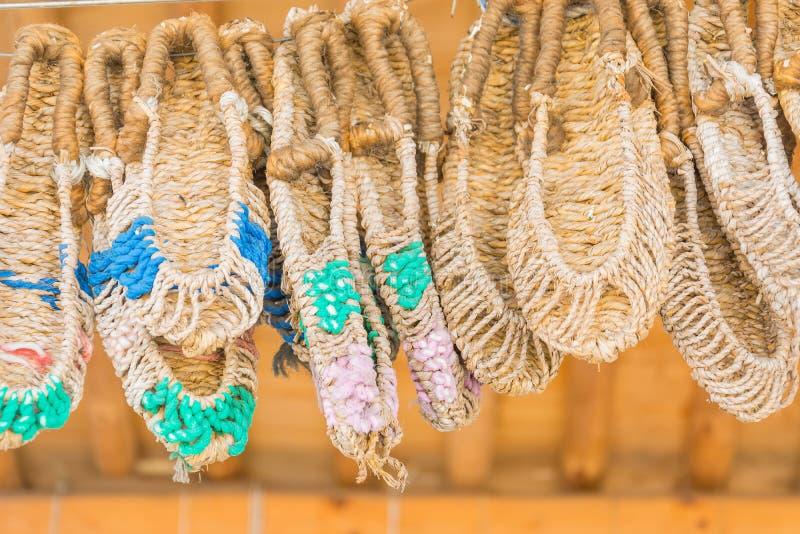 Sandals made by hand, using sisal at Namsangol Hanok Village, Se. Oul, South Korea stock photography