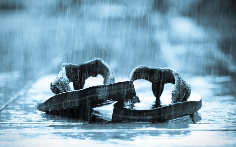 Sandals in the Rain royalty free stock photo