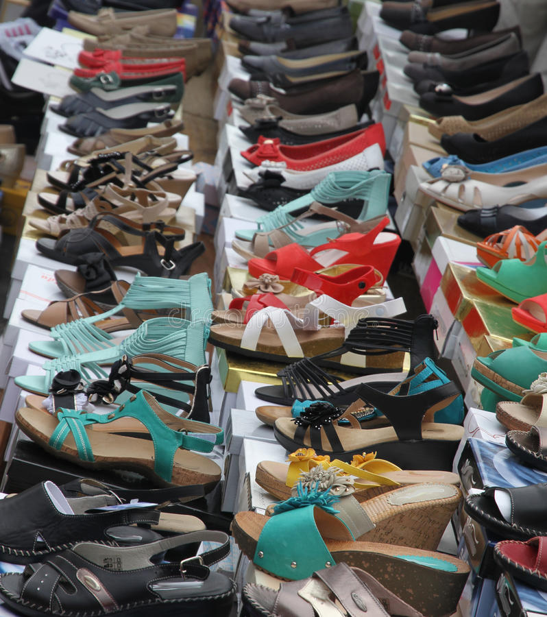 Download Sandals And Shoes For Trendy Women Sold At Local Market Stock Photos - Image: 32883723