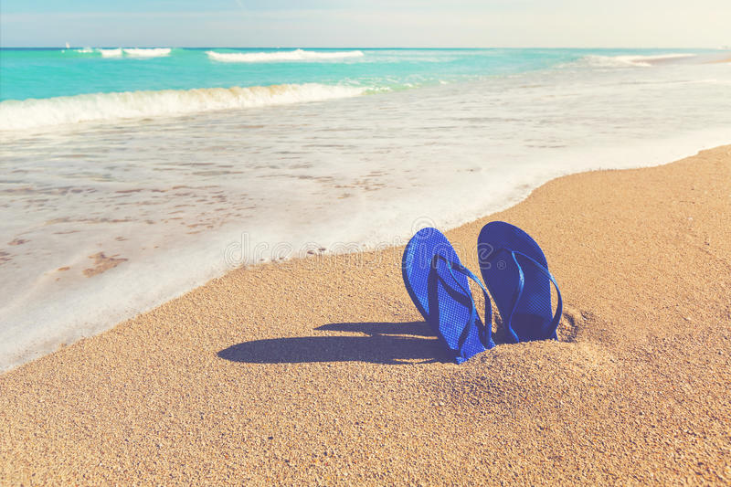 Sandals stuck in the sand of a tropical beach. Blue sandals stuck in the sand of a tropical beach royalty free stock image