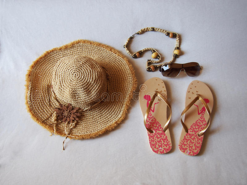 At sandals sunglasses jewelery stock images