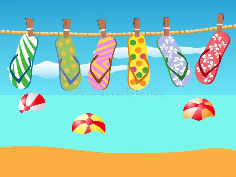 Sandals van het strand die op een kabel wordt gehangen royalty-vrije illustratie