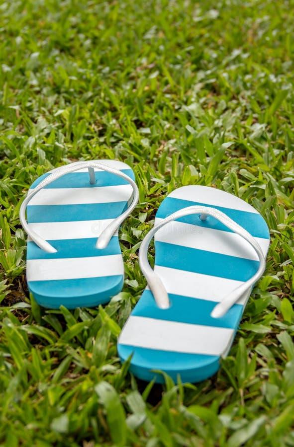 Sandals van het strand geplaatst die op een witte achtergrond wordt geïsoleerde stock foto