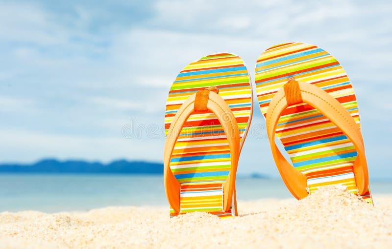 Sandals van het strand op de zandige kust stock foto