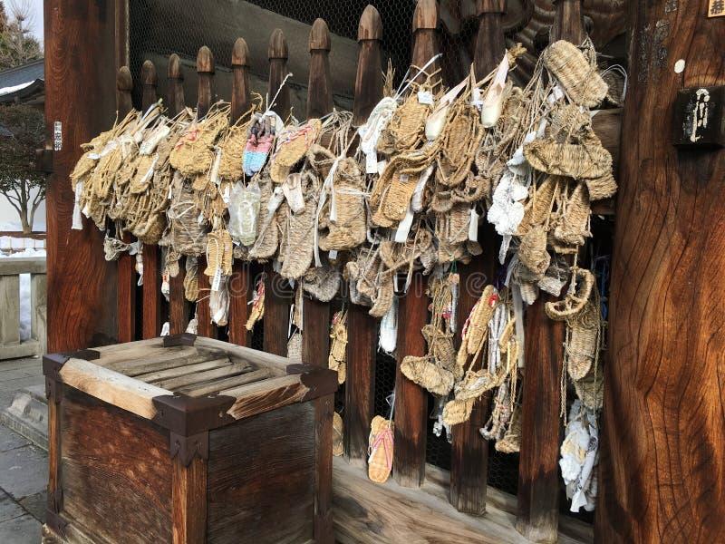 Sandals van het Waraji Japanse stro in een tempel in Japan royalty-vrije stock foto