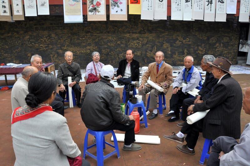 Sandaoyan, China: Grupo de artistas imagens de stock royalty free