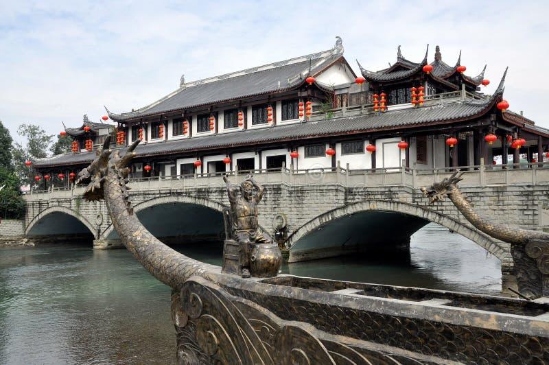 Sandaoyan, China: Ponte coberta de Sandaoyan imagens de stock royalty free