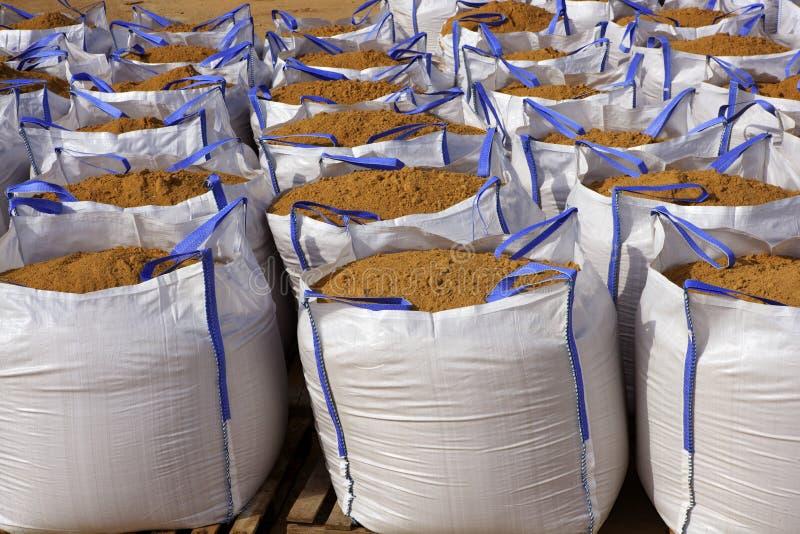 Sandbag white big bag sand sacks quarry royalty free stock photos