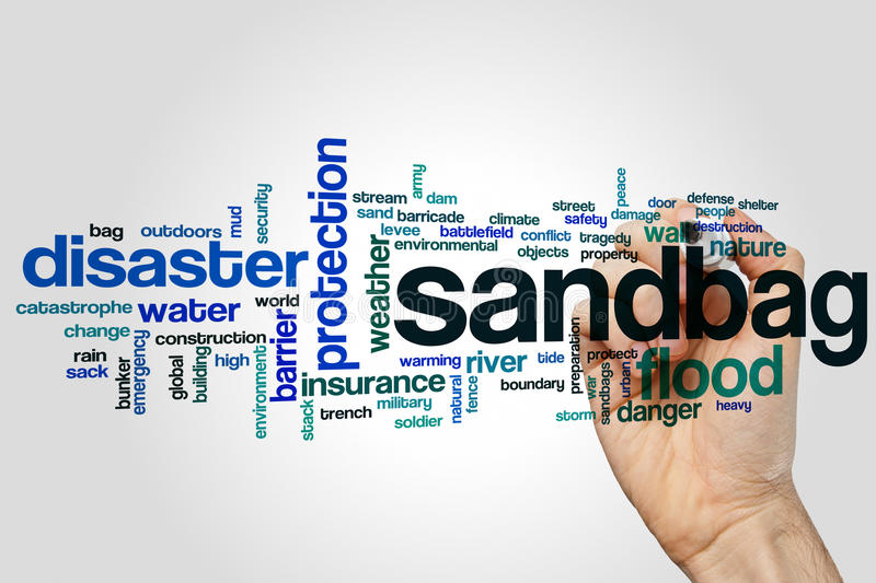 Sandbag word cloud. Concept on grey background stock photo