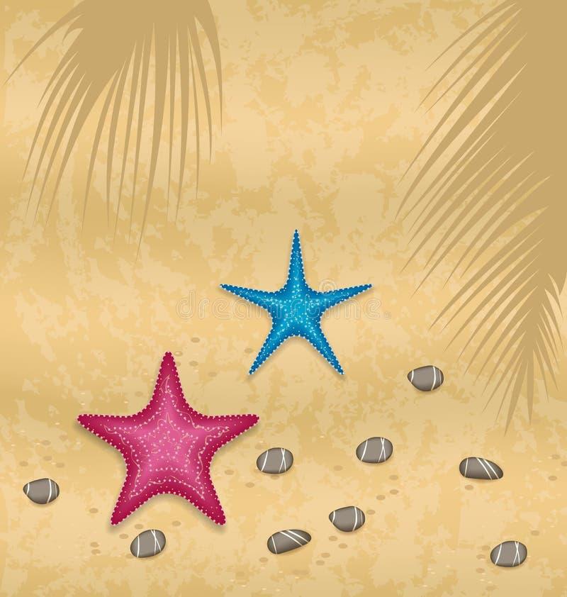 Sandbakgrund med sjöstjärnor och kiselstenstenar stock illustrationer