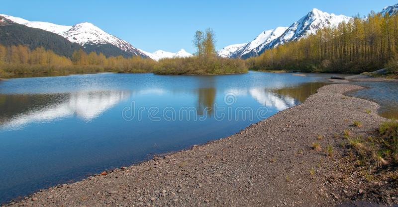 Sandbank und Ufer in Elch-Ebenen-Sumpfgebiet und Portage-Nebenfluss in Turnagain-Arm nahe Anchorage Alaska USA stockbild