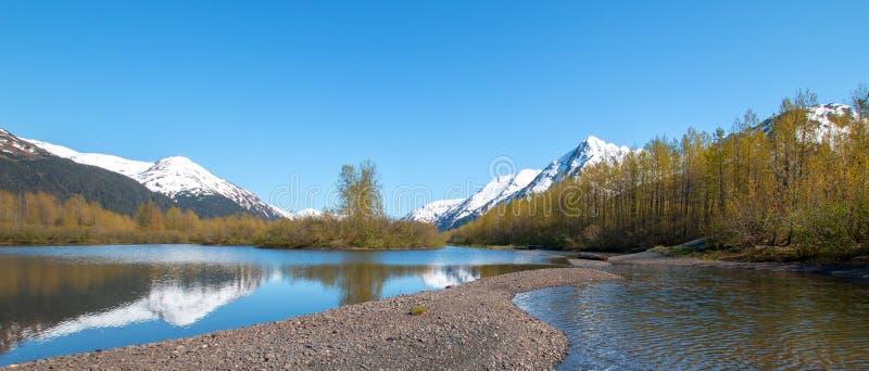 Sandbank und Ufer in Elch-Ebenen-Sumpfgebiet und Portage-Nebenfluss in Turnagain-Arm nahe Anchorage Alaska USA stockfotografie