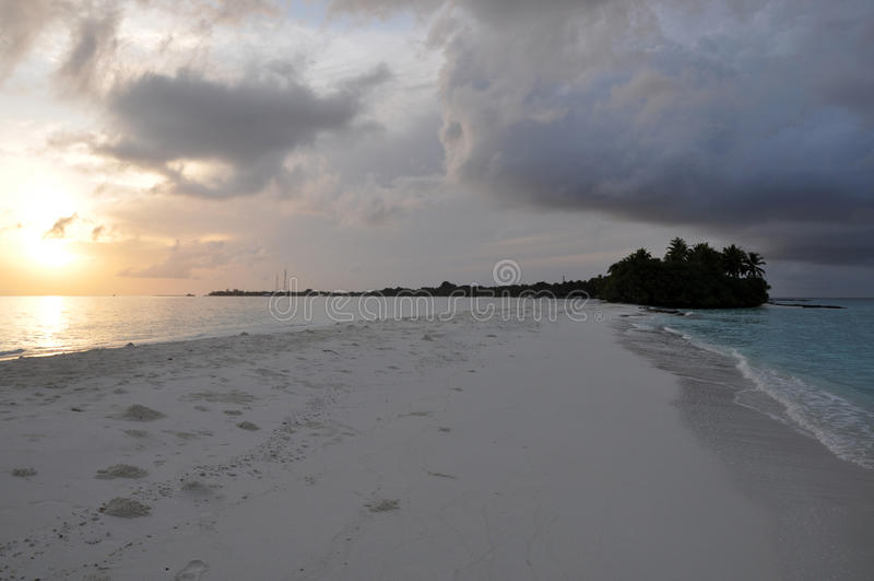 Sandbar durante o nascer do sol na ilha de Kuramathi, Maldivas fotos de stock royalty free