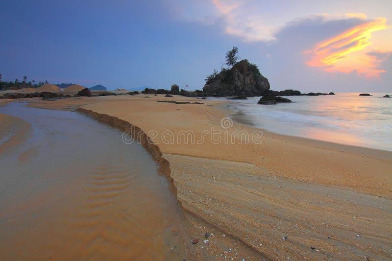 Sandbar and rocks royalty free stock photos