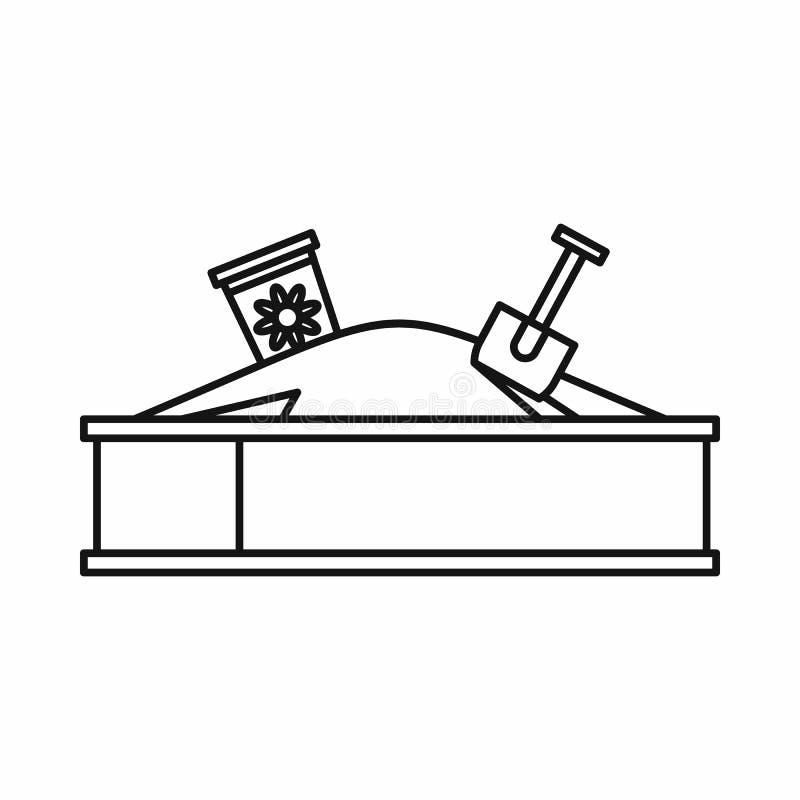 Sandbox σε ένα εικονίδιο παιδικών χαρών, ύφος περιλήψεων διανυσματική απεικόνιση