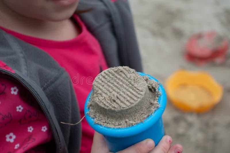Sandbox background children hand royalty free stock images