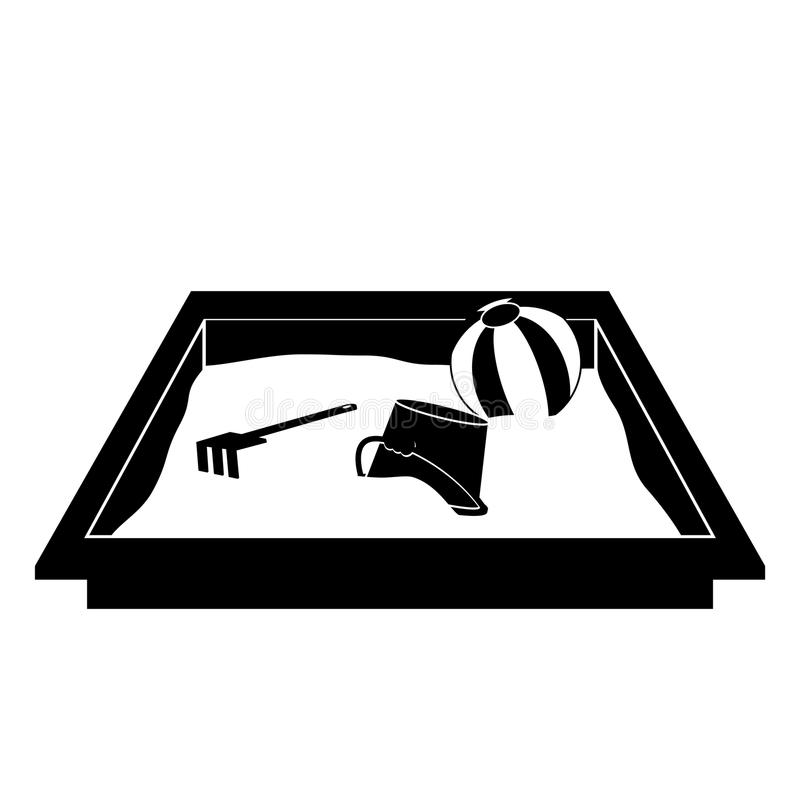 Sandbox icon, with ball, rake and bucket. Isolated on white background vector illustration