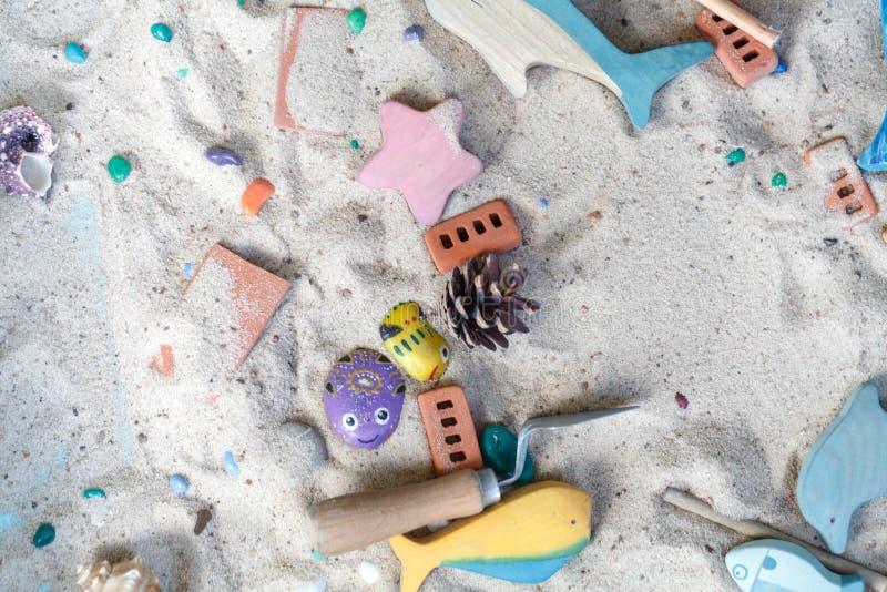 sandbox Zandtherapie Het werk van een psycholoog Psychological stock afbeeldingen