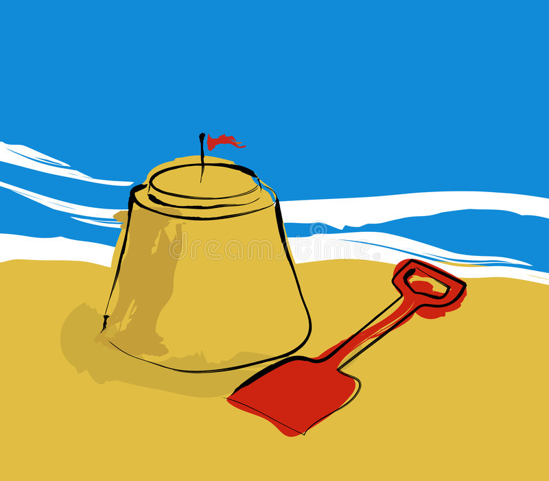 Download Sandcastle stock illustration. Illustration of white, flag - 1064599