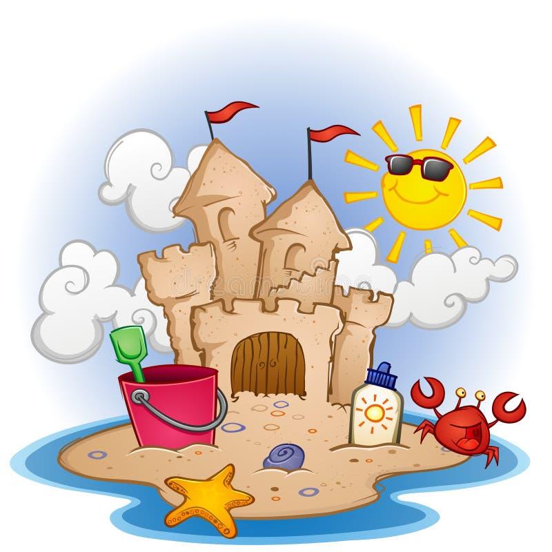 Sandcastle na praia ilustração stock