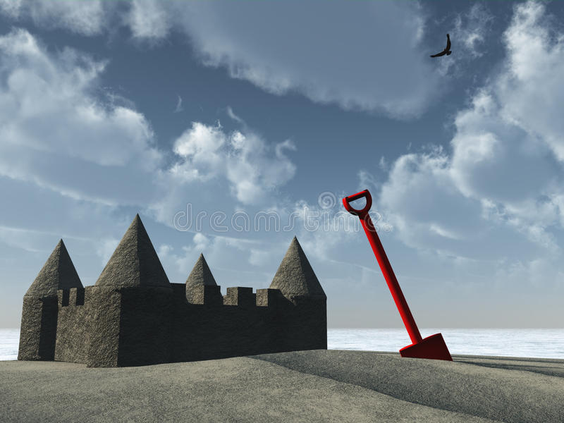 Download Sandcastle and spade stock illustration. Image of plastic - 18290437