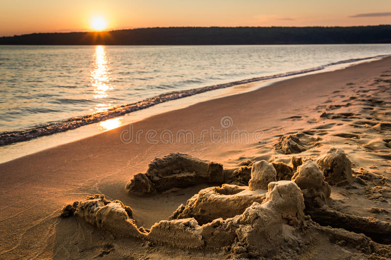 Sandcastle Sunset at Lake Superior royalty free stock photography