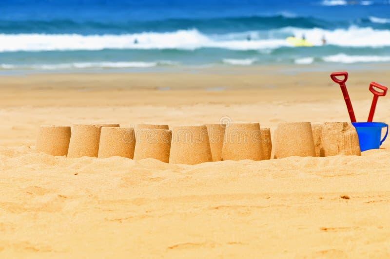 Sandcastles stock photo